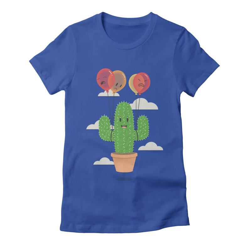 Cactus Hot Air Balloon Women's Fitted T-Shirt by Jenny Danko's Artist Shop