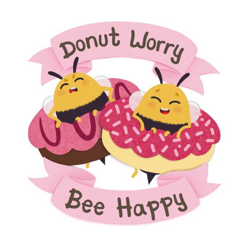 Donut Worry Bee Happy Men's T-Shirt by Jenny Danko's Artist Shop