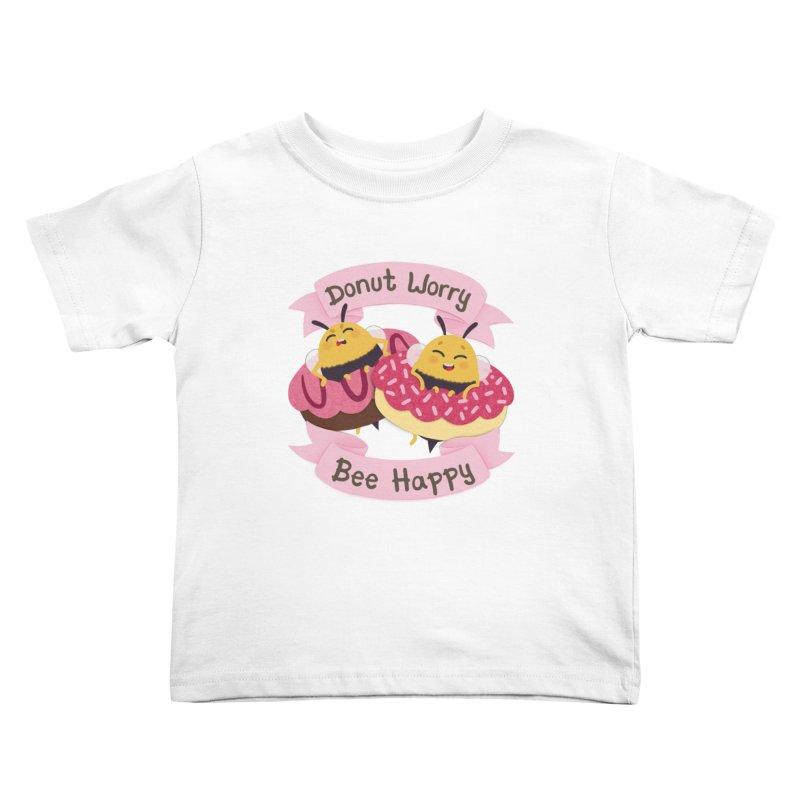 Donut Worry Bee Happy Kids Toddler T-Shirt by Jenny Danko's Artist Shop