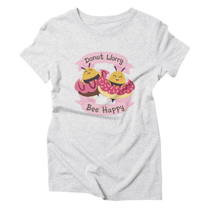 Donut Worry Bee Happy Women's Triblend T-Shirt by Jenny Danko's Artist Shop