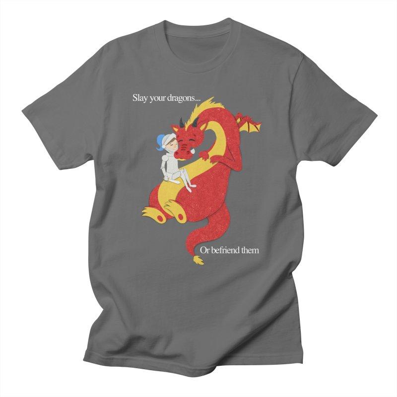 Befriend or Slay Your Dragon Men's Regular T-Shirt by Jenny Danko's Artist Shop