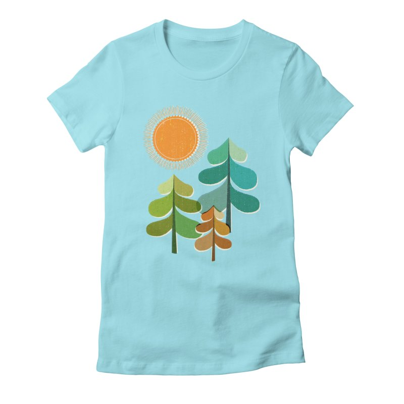 Golden Days Women's Fitted T-Shirt by Jenny Tiffany's Artist Shop