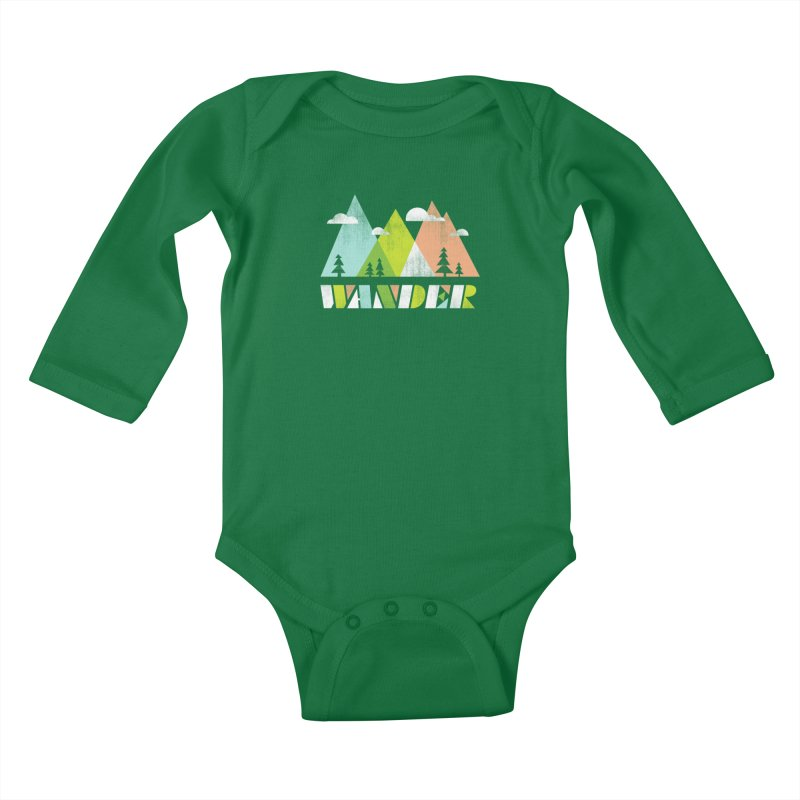 Wander Kids Baby Longsleeve Bodysuit by Jenny Tiffany's Artist Shop