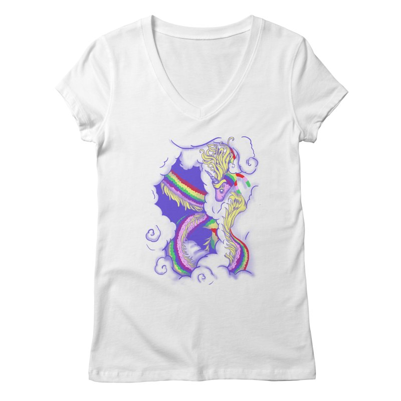 The Lady in the Sky Women's V-Neck by jenshirt's Artist Shop