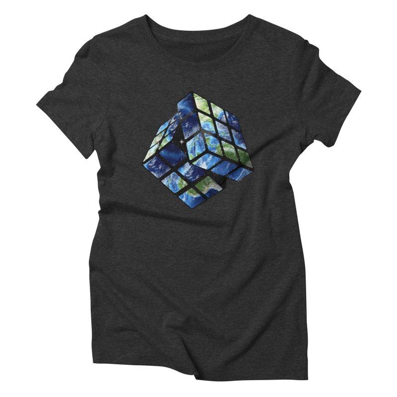Rubix Earth in Women's Triblend T-Shirt Heather Onyx by jerbing's Artist Shop