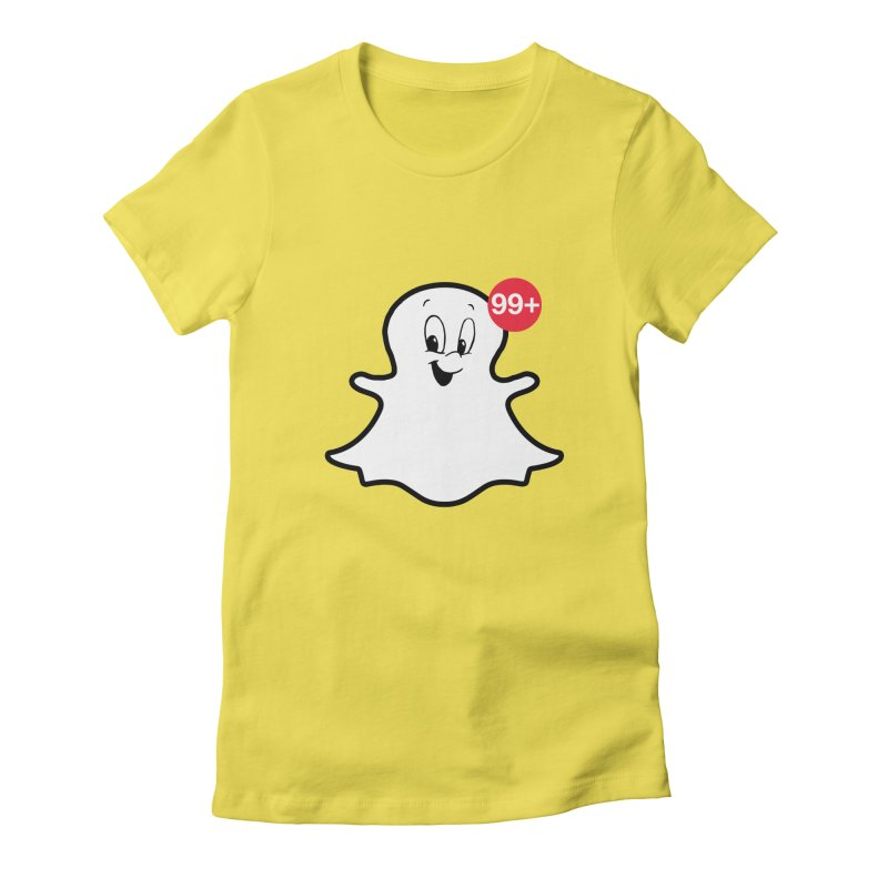 Friendly Ghost in Women's Fitted T-Shirt Vibrant Yellow by jerbing's Artist Shop