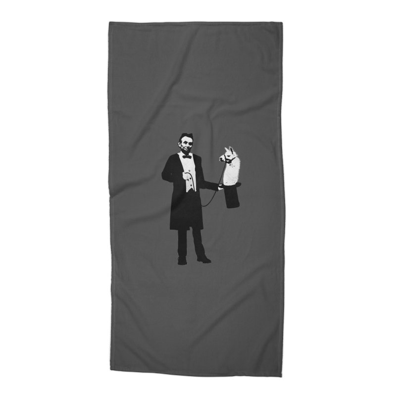Lincoln's Llama Trick Accessories Beach Towel by jerbing's Artist Shop