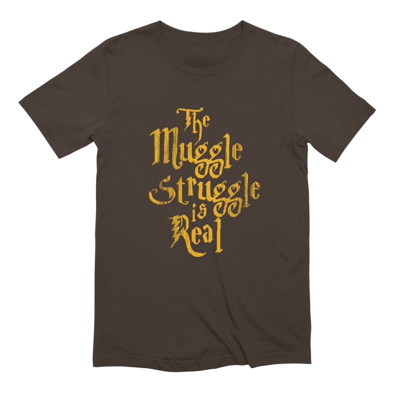 Muggle Struggle in Men's Extra Soft T-Shirt Chocolate by jerbing's Artist Shop