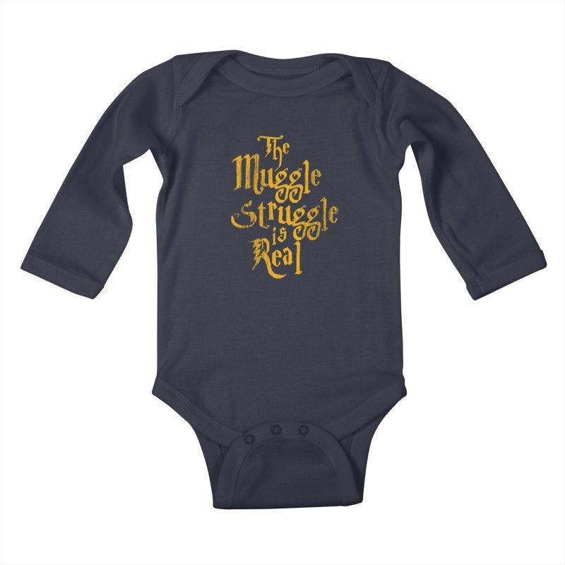 Muggle Struggle Kids Baby Longsleeve Bodysuit by jerbing's Artist Shop