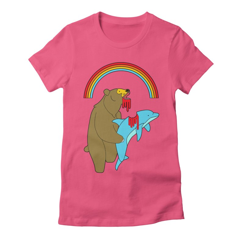 BEAR VS DOLPHIN Women's Fitted T-Shirt by jeremyscheuch's Artist Shop