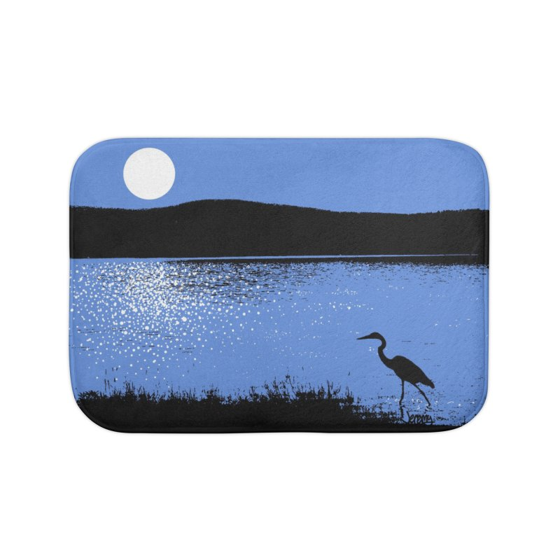 New Hampshire Heron in the Moonlight Home Bath Mat by Jeremy Wheeler