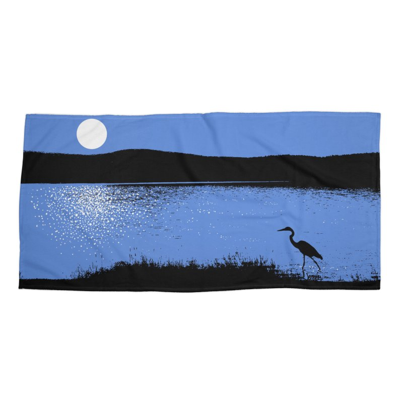 New Hampshire Heron in the Moonlight Accessories Beach Towel by Jeremy Wheeler