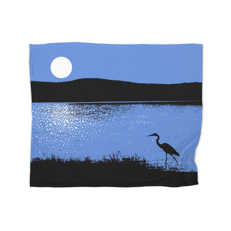 New Hampshire Heron in the Moonlight Home Blanket by Jeremy Wheeler