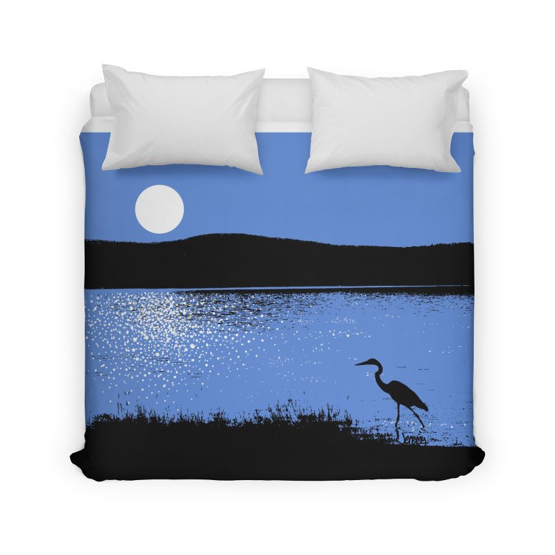 New Hampshire Heron in the Moonlight Home Duvet by Jeremy Wheeler