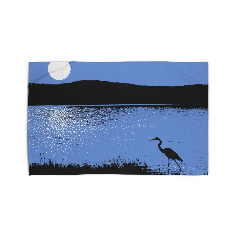 New Hampshire Heron in the Moonlight Home Rug by Jeremy Wheeler