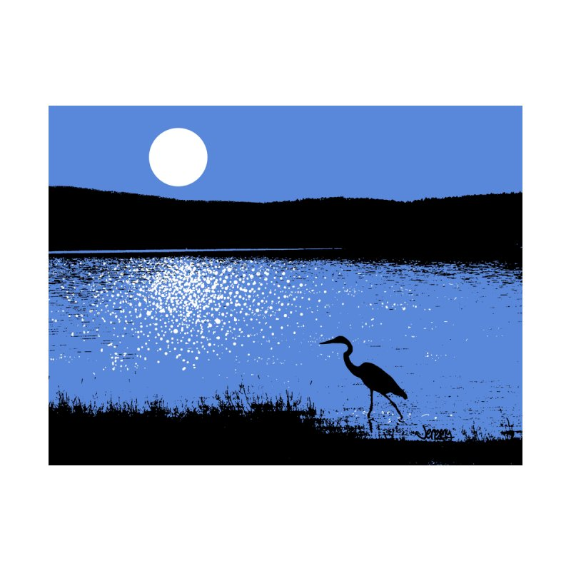 New Hampshire Heron in the Moonlight Home Mounted Aluminum Print by Jeremy Wheeler