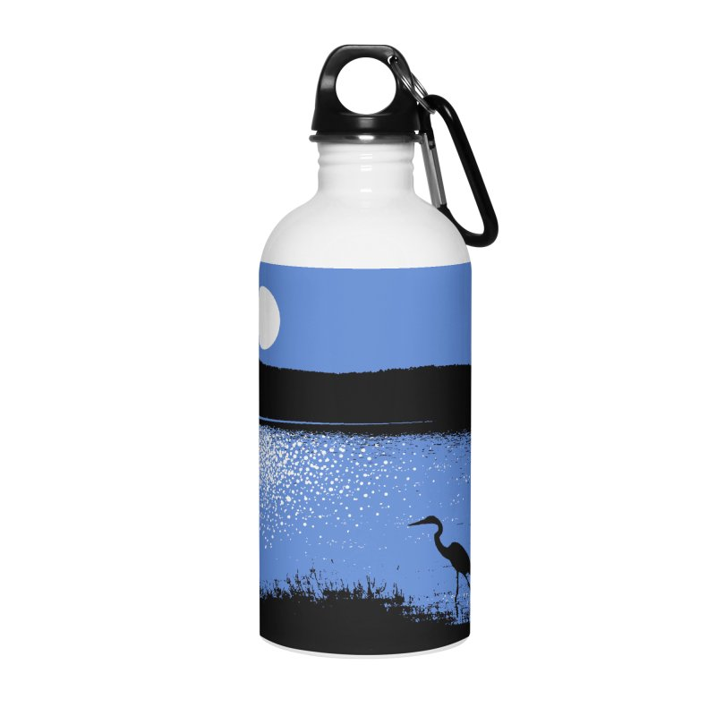 New Hampshire Heron in the Moonlight Accessories Water Bottle by Jeremy Wheeler