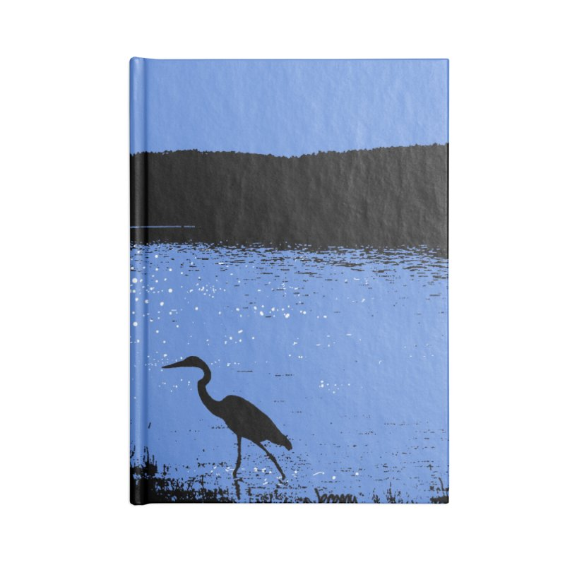 New Hampshire Heron in the Moonlight Accessories Lined Journal Notebook by Jeremy Wheeler