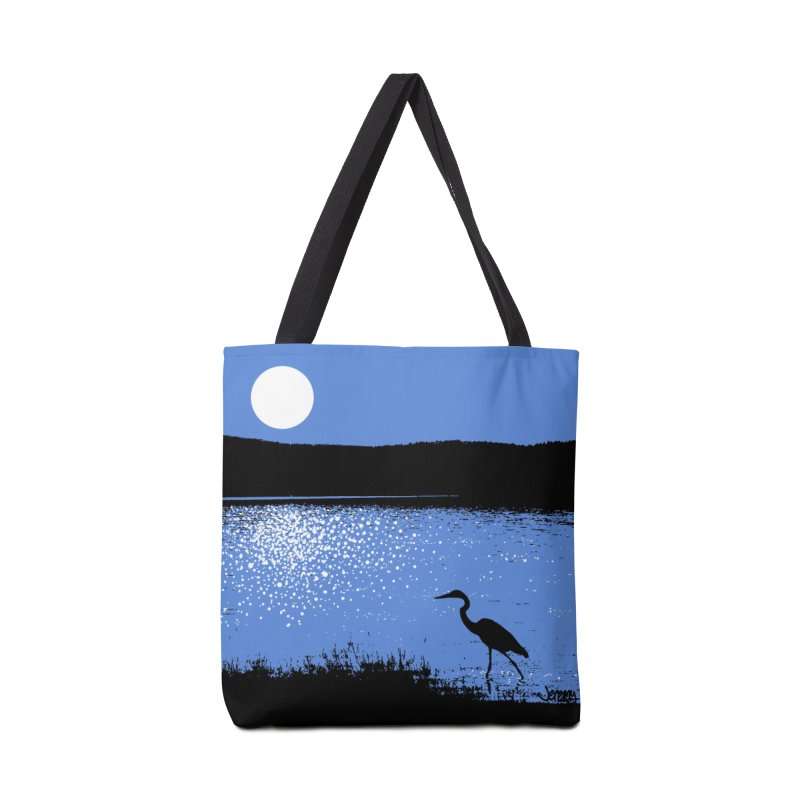 New Hampshire Heron in the Moonlight Accessories Tote Bag Bag by Jeremy Wheeler
