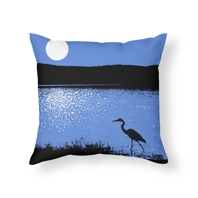 New Hampshire Heron in the Moonlight Home Throw Pillow by Jeremy Wheeler