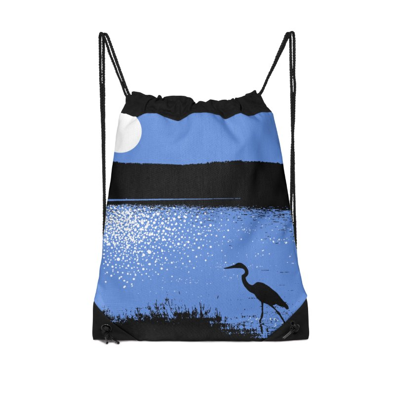 New Hampshire Heron in the Moonlight Accessories Drawstring Bag Bag by Jeremy Wheeler