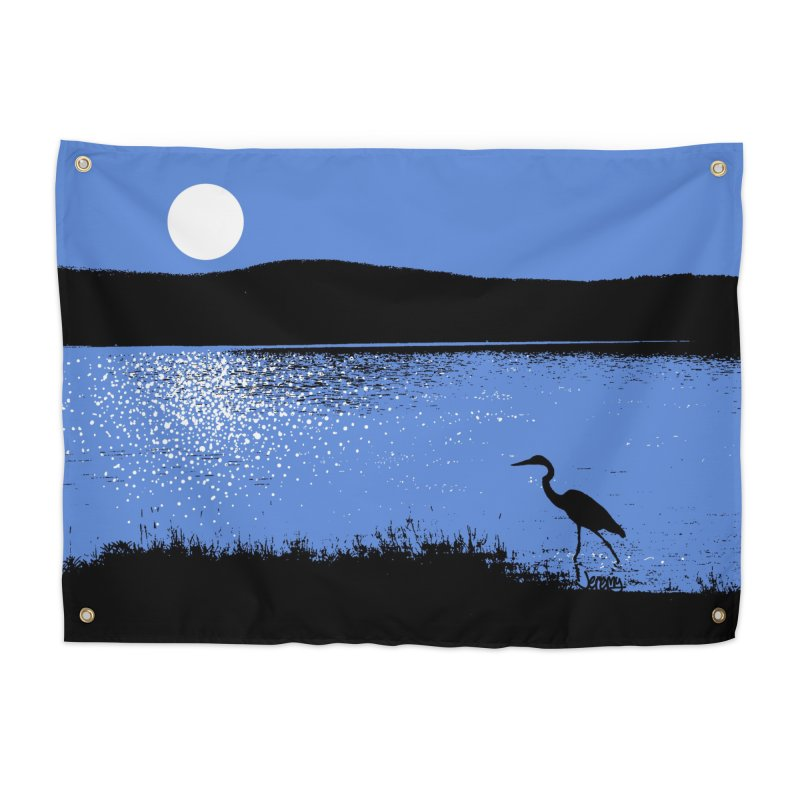 New Hampshire Heron in the Moonlight Home Tapestry by Jeremy Wheeler