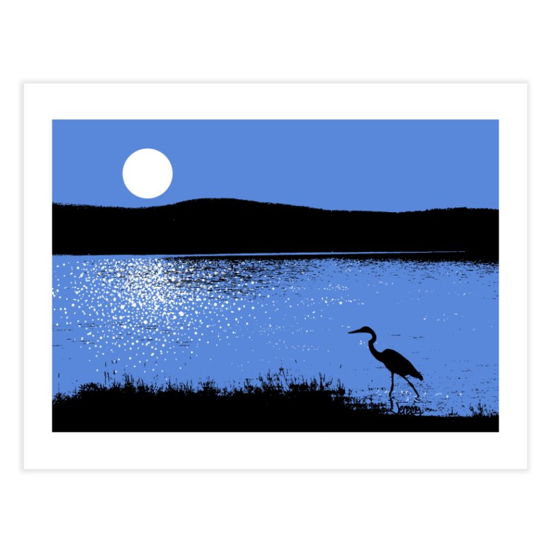 New Hampshire Heron in the Moonlight Home Fine Art Print by Jeremy Wheeler
