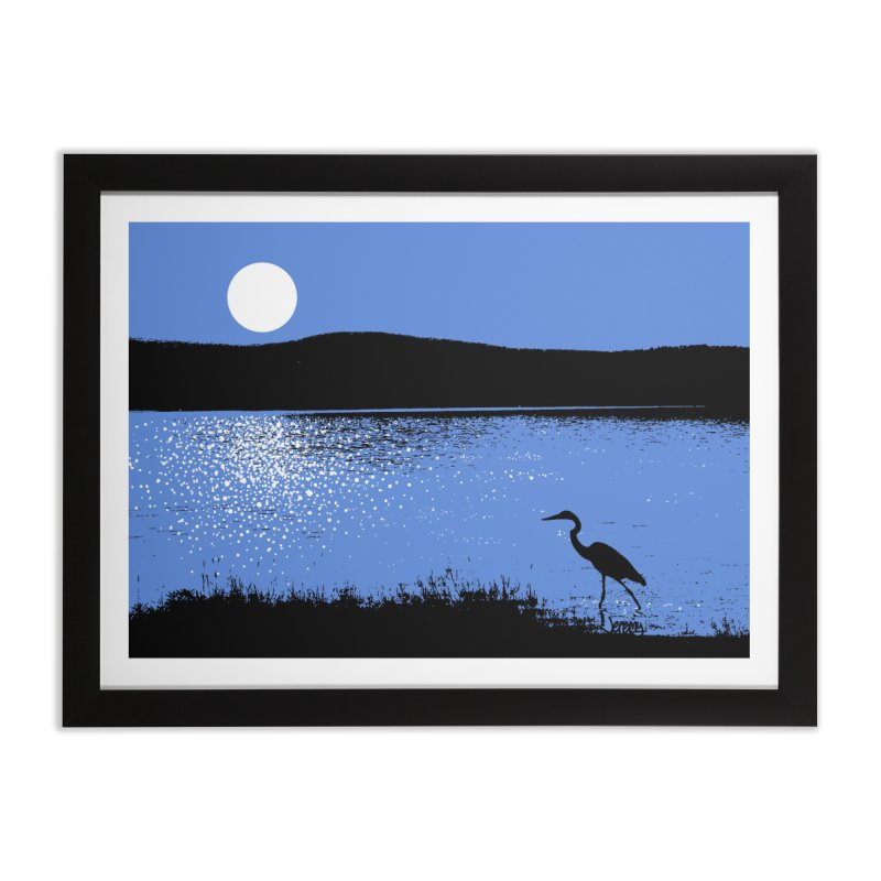 New Hampshire Heron in the Moonlight Home Framed Fine Art Print by Jeremy Wheeler