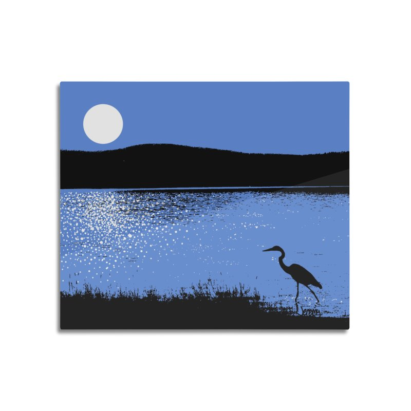 New Hampshire Heron in the Moonlight Home Mounted Acrylic Print by Jeremy Wheeler