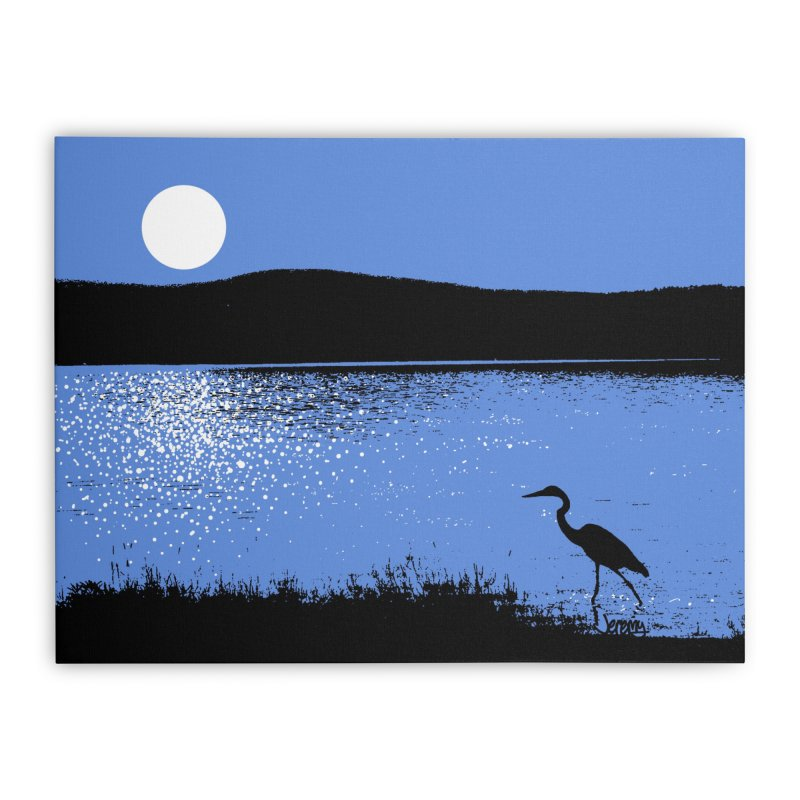 New Hampshire Heron in the Moonlight Home Stretched Canvas by Jeremy Wheeler