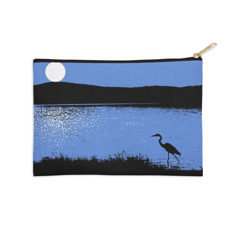 New Hampshire Heron in the Moonlight Accessories Zip Pouch by Jeremy Wheeler