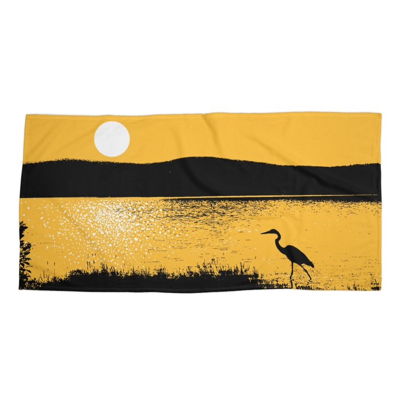 New Hampshire Heron at Sunrise Accessories Beach Towel by Jeremy Wheeler