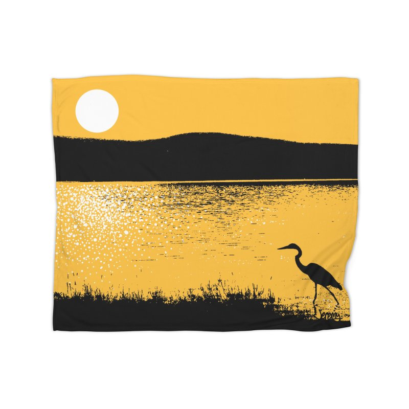 New Hampshire Heron at Sunrise Home Fleece Blanket Blanket by Jeremy Wheeler