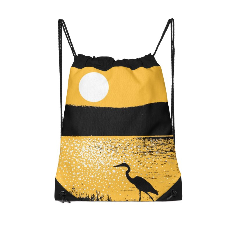 New Hampshire Heron at Sunrise Accessories Drawstring Bag Bag by Jeremy Wheeler
