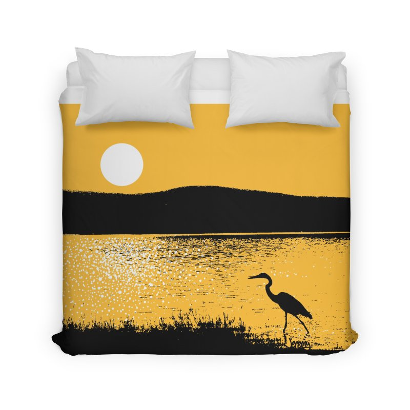 New Hampshire Heron at Sunrise Home Duvet by Jeremy Wheeler