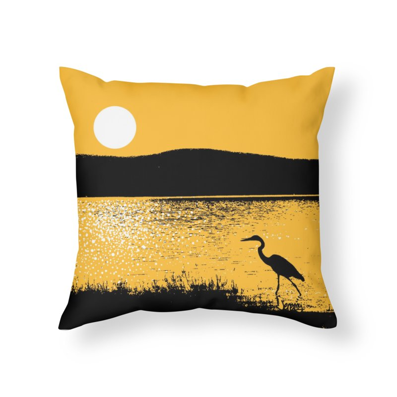 New Hampshire Heron at Sunrise Home Throw Pillow by Jeremy Wheeler