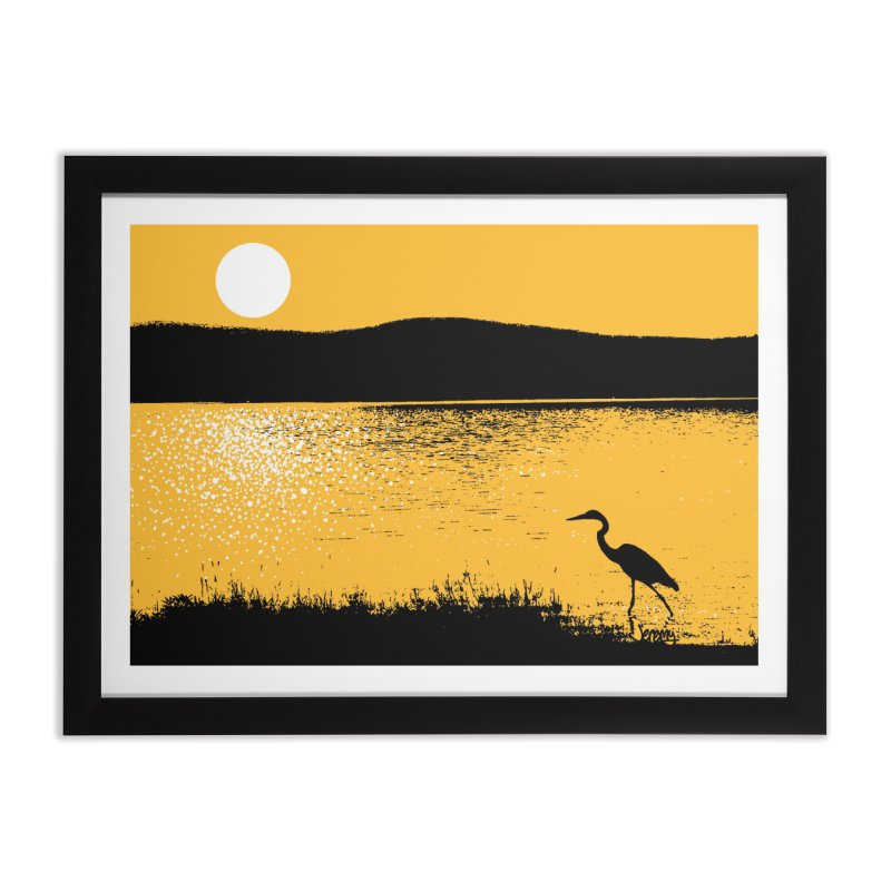 New Hampshire Heron at Sunrise Home Framed Fine Art Print by Jeremy Wheeler