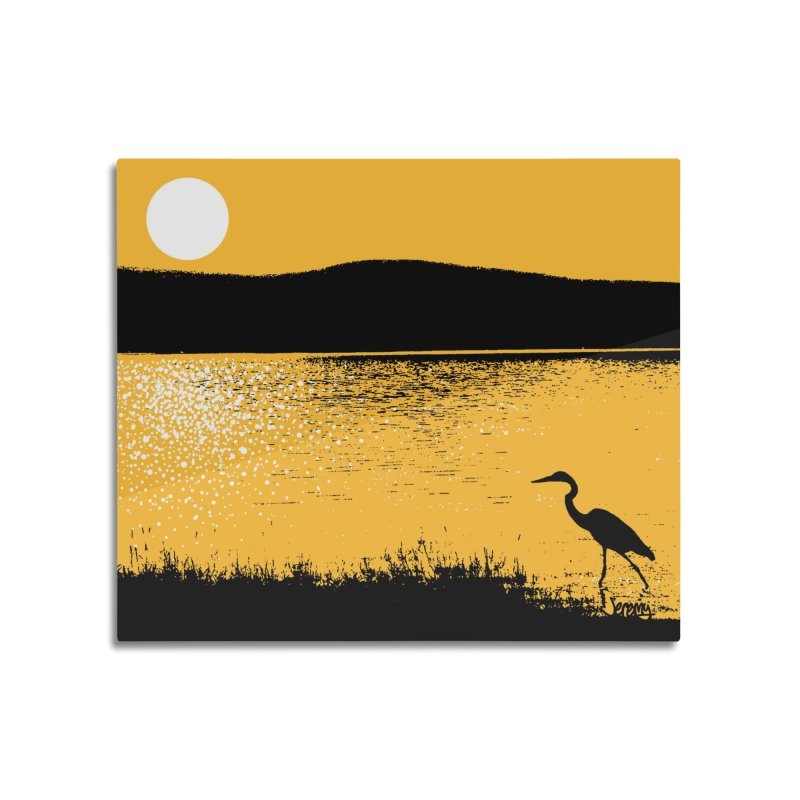 New Hampshire Heron at Sunrise Home Mounted Aluminum Print by Jeremy Wheeler