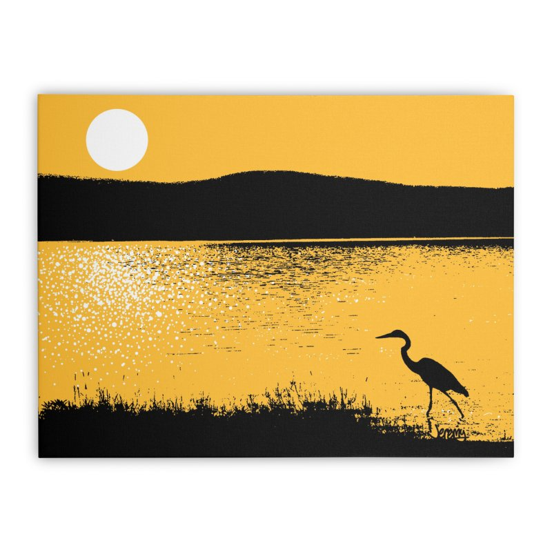 New Hampshire Heron at Sunrise Home Stretched Canvas by Jeremy Wheeler