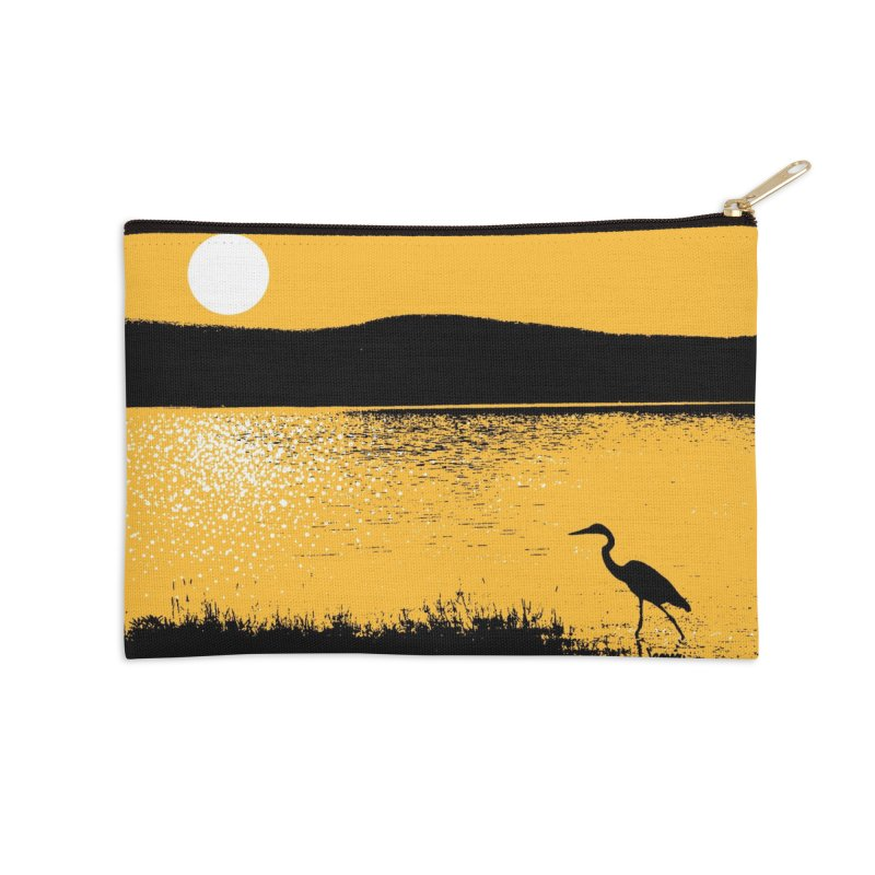 New Hampshire Heron at Sunrise Accessories Zip Pouch by Jeremy Wheeler