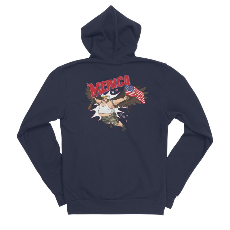 'Merica Men's Sponge Fleece Zip-Up Hoody by Jerkass