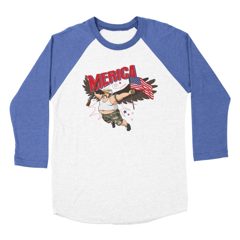 'Merica Women's Baseball Triblend Longsleeve T-Shirt by Jerkass