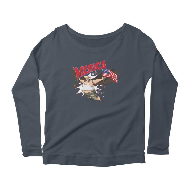 'Merica Women's Scoop Neck Longsleeve T-Shirt by Jerkass