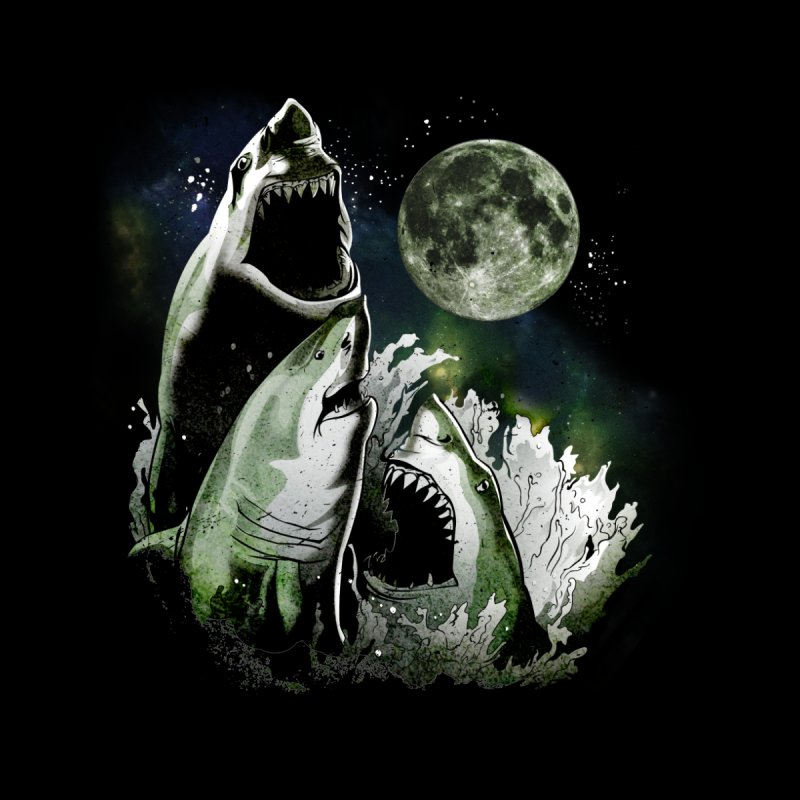3 Shark Moon Men's T-Shirt by Jerkass