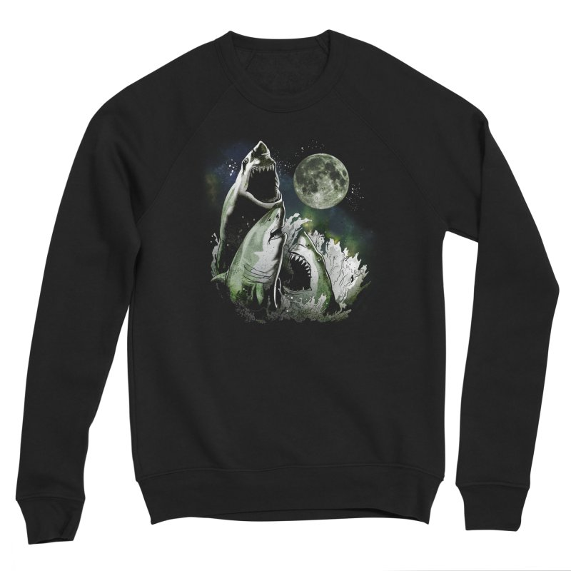 3 Shark Moon Men's Sponge Fleece Sweatshirt by Jerkass