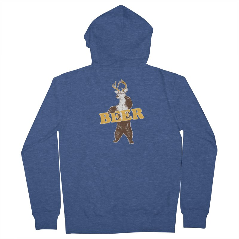 Bear + Deer = Beer Women's French Terry Zip-Up Hoody by Jerkass