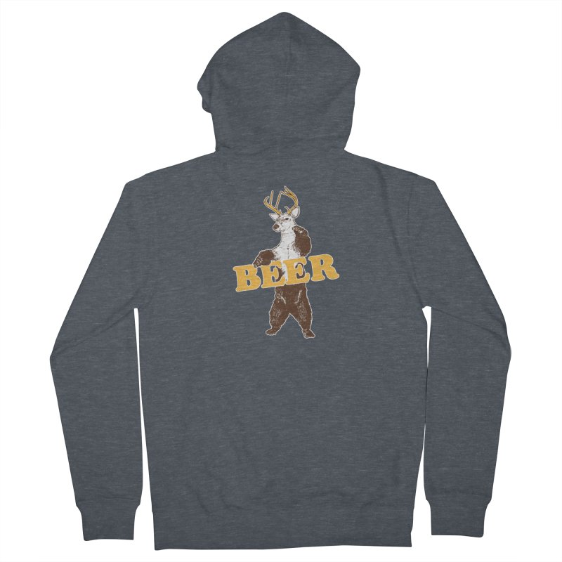 Bear + Deer = Beer Women's French Terry Zip-Up Hoody by Jerkass