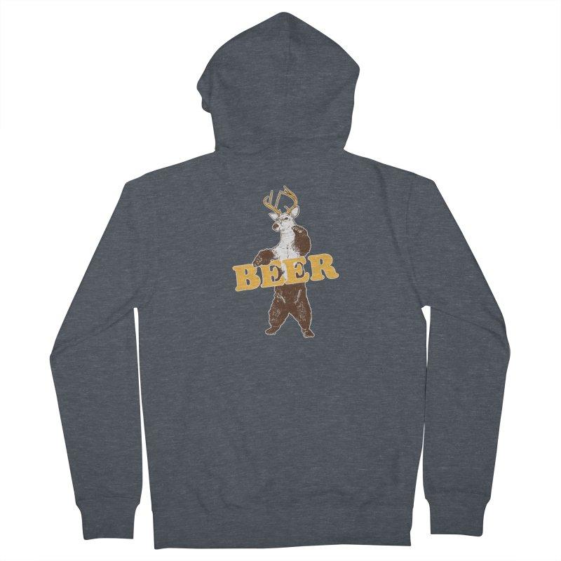 Bear + Deer = Beer Men's French Terry Zip-Up Hoody by Jerkass
