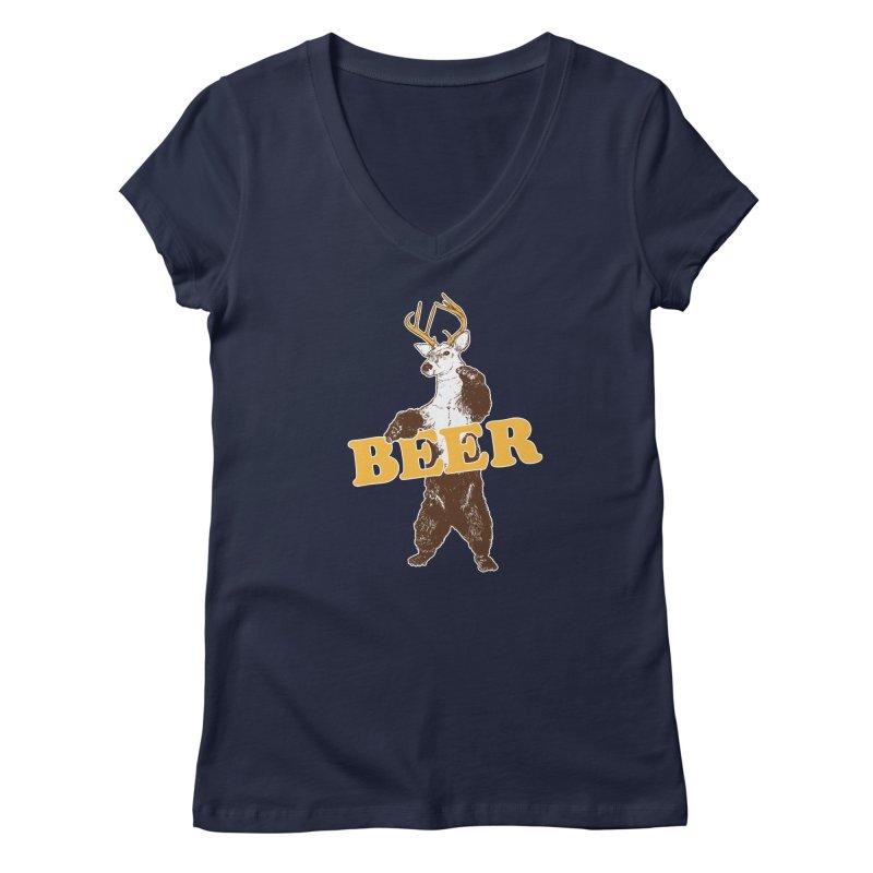 Bear + Deer = Beer Women's Regular V-Neck by Jerkass