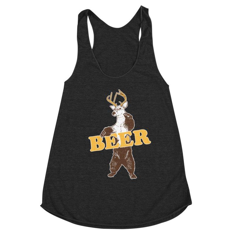 Bear + Deer = Beer Women's Racerback Triblend Tank by Jerkass
